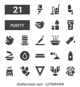 purity icon set. Collection of 21 filled purity icons included Dove, Water, Incense, Watering, Water dispenser, Vacuum