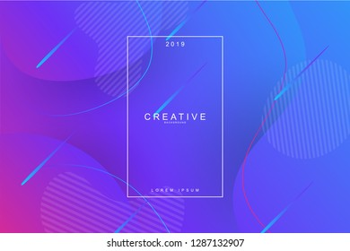 PURPLE, 2019, Happy new year. 2019 new year background celebration. Fluid shape, wavy, dynamic background, gradient color, flowing shapes. Usable for landing page. Trendy and modern background color.
