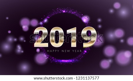 purple 2019 happy new year card with premium bokeh magic texture background festive rich premium