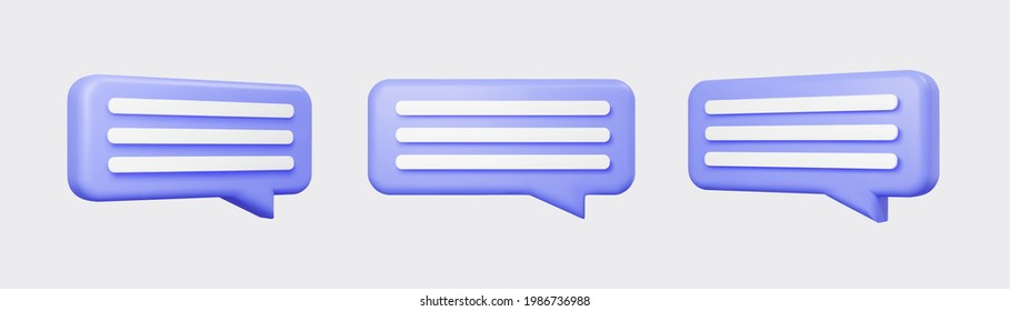 Purple 3d bubble talks set isolated on gray background. Glossy purple speech bubbles, dialogue, messenger shapes. 3D render vector icons for social media or website