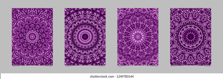 Purple abstract flower ornate mandala flyer background template set - geometrical vector stationery graphics