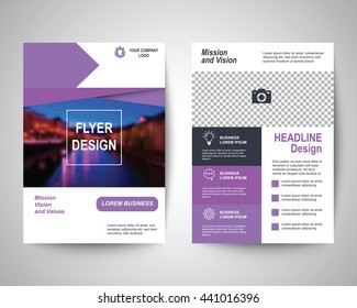 purple abstract flyer layout template, brochure background, leaflet with cover, vector design in a4 size for business annual report