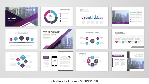 Purple abstract presentation slide templates. Infographic elements template  set for web, print, annual report brochure, business flyer leaflet marketing and advertising template. Vector Illustration