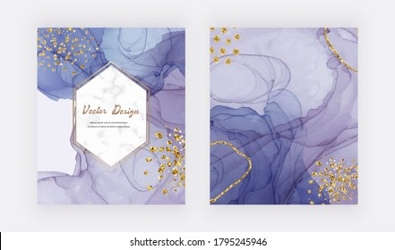 Purple alcohol ink texture covers with gold glitter confetti and marble frame.