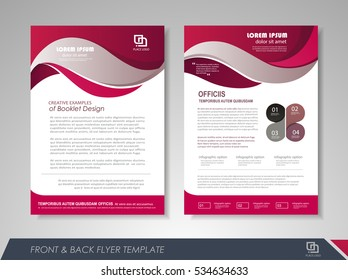 Purple annual report brochure flyer design template. Leaflet cover presentation abstract background for business, magazines, posters, booklets, banners. Layout in A4 size Easily editable vector format
