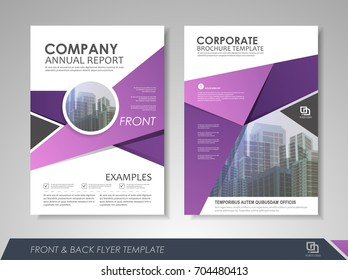 Purple annual report brochure flyer design template. Leaflet cover presentation abstract background for business, magazines, posters, booklets, banners. Layout in A4 size.