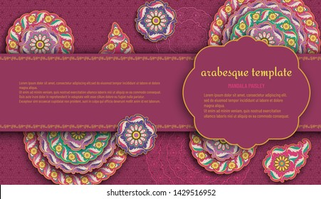 Purple arabesque floral pattern with paisley and mandala. Flower and leaves patterns. Vector illustration.