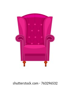 Purple armchair isolated vector icon. Classic sofa label, home furniture element vector illustration