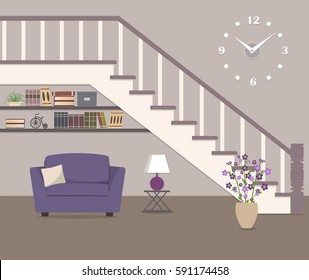 Purple armchair, located under the stairs. There is also a vase with flowers, a lamp and big clock in the picture. Vector flat illustration.