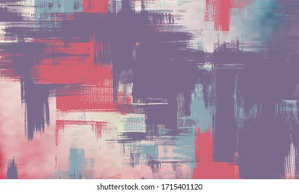 Purple artwork on canvas. Abstract background painting, dirty art fantasy. Surreal hand drawn landscape. Grungy cross hatching paint strokes, vector background illustration
