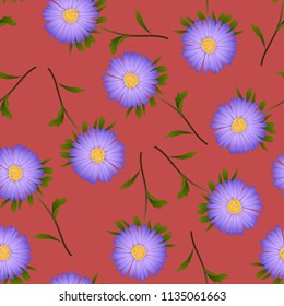 Purple Aster, Daisy on Red Background. Vector Illustration.