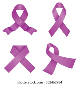 Purple awareness ribbons isolated on a white background. Vector illustration