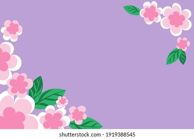 Purple background with corner of pink sakura flowers and leaves. Copy space for text. Flat style. Frame with simple flowers for design, vector illustration.