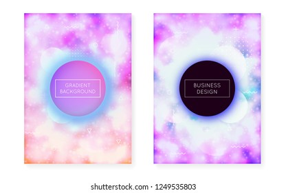 Purple background with liquid neon shapes. Luminous fluid. Fluorescent cover  with bauhaus gradient. Graphic template for book, annual, mobile interface, web app. Hipster purple background.