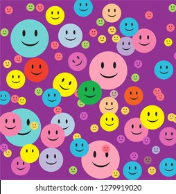 Purple background smiley emotions cute pattern vector