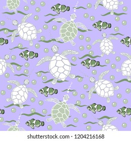 Purple background with white and green turtles and fish