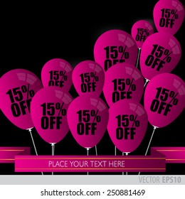 Purple balloons With Sale Discounts 15 percent.