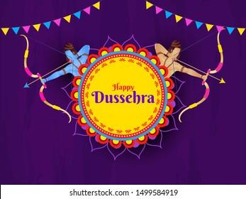 Purple banner or poster design with illustration of Hindu Mythological Lord Rama and Lakshman warrior for Happy Dussehra celebration.