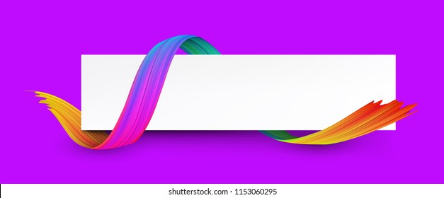 Purple banner with white frame and spectrum watercolor, acrylic or gouache wavy brush stroke. Colorful gradient brush design. Abstract template. Vector art illustration.