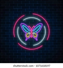 Purple batterfly glowing neon sign in round frames on dark brick wall background. Spring flyer emblem in circle.