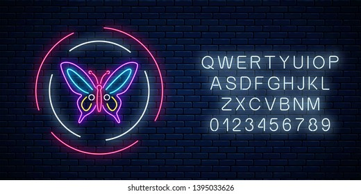 Purple batterfly glowing neon sign in round frames with alphabet on dark brick wall background. Spring flyer emblem in circle. Night street advertising symbol. Vector illustration.
