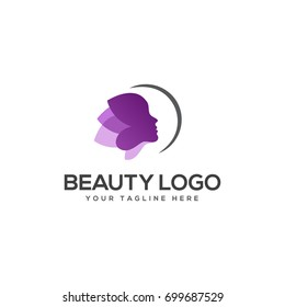 purple beauty face logo