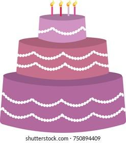Purple birhtday cake, vector