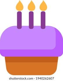 Purple birthday cake, illustration, vector on a white background