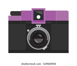 Purple and Black Analog Film Camera