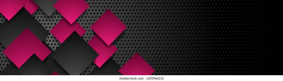 Purple and black squares on dark metallic perforated background. Vector geometric banner