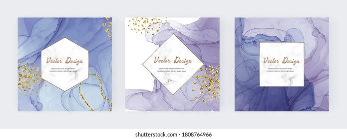Purple and blue alcohol ink texture square covers with gold glitter confetti and marble frame.