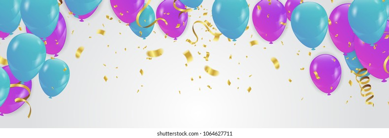 purple and blue confetti and set  ribbons. illustration bunch of Birthday balloons on white background