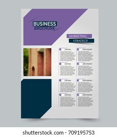 Purple and blue flyer vector design template set. Business brochure. Annual report or magazine cover.