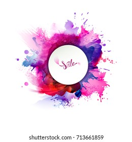 Purple, blue, lilac, orange and pink watercolor stains. Bright color element for abstract artistic background.