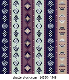 Purple, Blue, and Mint Southwestern Stripped Repeating Pattern Composed of Triangle Shapes