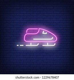 Purple bobsleigh neon sign. Glowing bob with sport team on dark blue brick background. Can be used for sport, winter games, Olympic