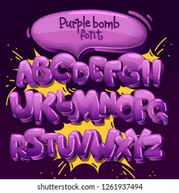 purple bomb font. vector set of letters in the style of comics and graffiti