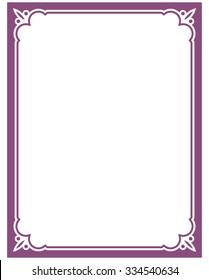 purple border frame deco vector art simple line corner