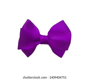 Purple bow out of satin ribbon. Decorative bowknot. Vector illustration. Birthday party decoration.