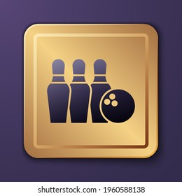 Purple Bowling pin and ball icon isolated on purple background. Sport equipment. Gold square button. Vector
