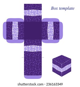 Purple box template with floral pattern, vector