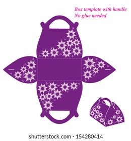 Purple box template with handle, no glue needed. Vector illustration with flowers.
