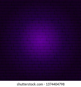 Purple Brick Wall. Vector Illustration of Industrial Background.