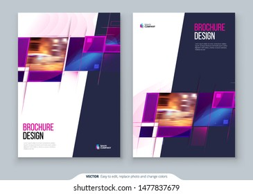 Purple Brochure Cover template layout design. Corporate business annual report, catalog, magazine, flyer mockup. Creative modern bright concept with square shapes