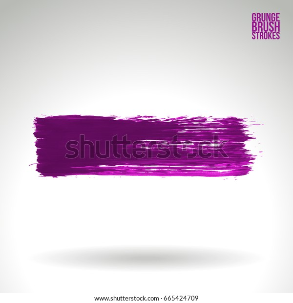 Purple brush stroke and texture. Grunge vector abstract hand - painted element. Underline and border design.