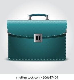 Purple business briefcase isolated on blue background.