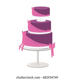 A purple cake with three tiers and bow decorations