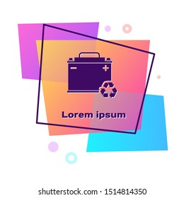 Purple Car battery with recycle icon isolated on white background. Accumulator battery energy power and electricity accumulator battery. Color rectangle button. Vector Illustration
