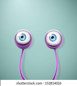 Purple cartoon eyes. Eps 10