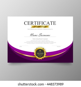 Purple certificate template diploma background vector modern value design and luxurious elegant. Illustration layout cover leaflet horizontal in A4 size pattern.
